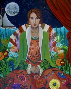Lady Chatham In The Serious Moonlight-New Painting, painting by artist Catherine Nolin