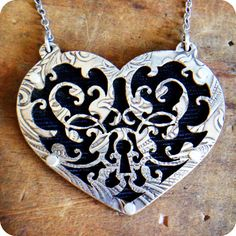Heart Lock and Key Necklace Ornate Filigree by RoiaOBrienJewelry