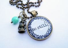 Be Still Necklace - One Word Jewelry by OxfordBright #bestill #oneword #jewelry #necklace #inspirational #oxfordbright #etsy