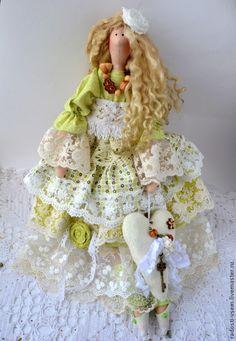 Купить Тильда в стиле бохо, Интерьерная кукла.Весенний ангел!!! - салатовый, тильда кукла