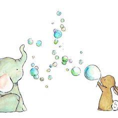 Nursery Art Bubble Party 8x10 Art Print by trafalgarssquare, $20.00
