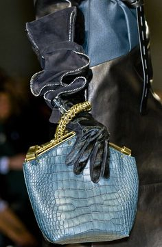 cool chic style fashion: Gianfranco Ferré Fall/Winter 2012 Ready to Wear love the GLOVES & BAG