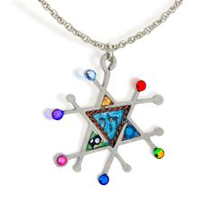 Seeka Modern Judaic Star & Chai Necklace N1025. Modern Judaic Star & Chai Necklace. The Hebrew Chai sits upon a hand painted, pastel colored background in the center of this pendant. Each piece is truly like a miniature artwork. See our Total Satisfaction Pledge and easy return and refund policy.