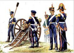 Artillería patriota durante la campaña de 1818. Grabado del libro de Alberto y Antonio Marquez.