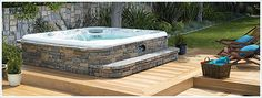 love faux stone around a hot tub. and steps, so easy with our stacked stone  panels.