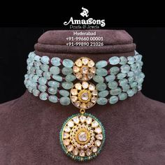 Simple Yet Beautiful Emerald Polki Choker Amarsons jewellery.For More Info Whatsapp on : +91-9966000001 | +91-9989021026. 08 August 2019