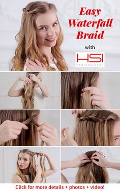 The Waterfall Twist is an easier version of the waterfall braid, since we're only dealing with two hair sections. The Waterfall Twist looks great with straight or wavy hair.