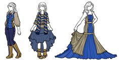 Fall fashion (and a ballgown cause I fucking love ballgowns) for the 4 houses (with movie and book colorway for Ravenclaw yer welcome).