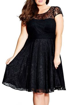 Plus Size Lace Fit & Flare Dress - Plus Size Party Dress