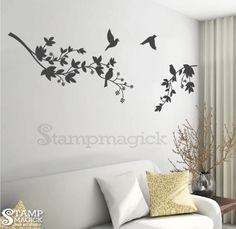 Branch Leaves Birds wall decal - tree branch - K065. $25.00, via Etsy.