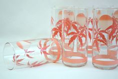 Vintage Anchor Hocking Tumbler High Ball Drink Glasses - Pink Palm Tree and Sun Set of 8