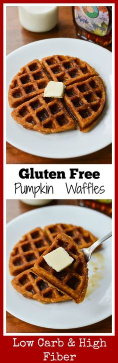 A delicious low carb and gluten free waffles recipe made with pumpkin and almond flour.