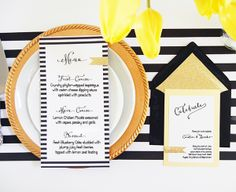 Striking black and gold wedding invites! #stationery #invitations #menu #wedding Shop: Pink Champagne Paper --- https://www.etsy.com/shop/pinkchampagnepaper
