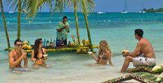 Ocean bar at SANDALS Negril, Jamaica.  Negril offers the best water on the island!  ASPEN CREEK TRAVEL - karen@aspencreektravel.