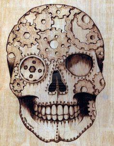 Steampunk Sugar Skull by Deven Rue - Skull and Gears