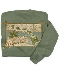 Retro Hawaii - Ti Leaf-Dyed Classic Long Sleeve Crew Crazy Shirts, Hawaii, Retro, Sweatshirts, Classic, Long Sleeve, Sleeves, Sweaters, Clothes