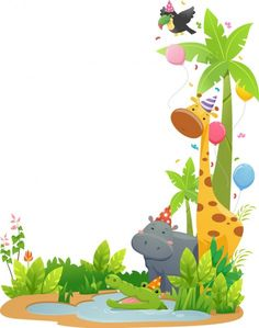 Jungle Theme Birthday, 2nd Birthday Party Themes, Diy Wall Painting, Painting For Kids, Photo Frame Wallpaper, Baby Icon, Murals For Kids, Animal Crafts For Kids, Christmas Frames