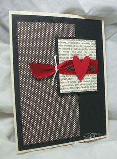 handmade Valentine card ... black, white, gray and red ... sophisticated look .. like the ribbon treatment with a piece of white cord to gather it up ... great card!!