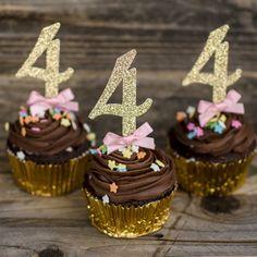 12 4 cupcake toppers Pink and Gold by GlitzandBowsbyJackie