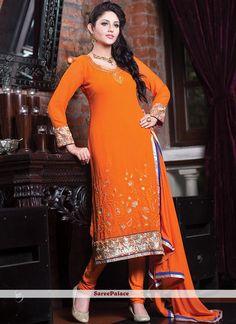 Orange Faux Georgette Churidar Suit