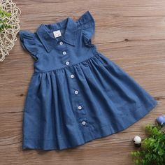 macy button up navy blue denim dress buy it today from www babypetite com we sell cute and adorable baby clothing shoes socks bibs tableware blankets clothing sets dre - The world's most private search engine Baby Girl Dress Patterns, Baby Dress Design, Frock Design, Skirt Patterns, Coat Patterns, Blouse Patterns, Frocks For Girls, Dresses Kids Girl, Kids Outfits