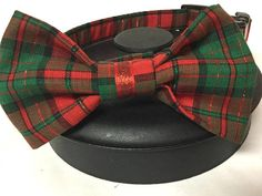 Dog collar plaid dog collar Christmas dog collar bow tie