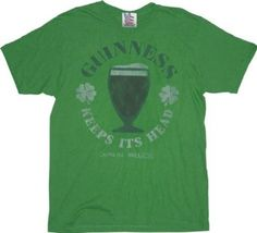 Junk Food Guinness Beer St. Patrick's Day Keeps Its Head Green Adult T-shirt Tee #holiday #stpattysday #stpatricksday #guinness