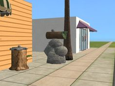 Simrock trash can and mailbox.  Yeah, I know they aren't accurate, but they don't look too bad in an ice age setting.  Invisible defaults and recolors work better, though.