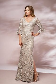J205017 Long V-neck Lace MOB Dress with Sleeves and Slit a93c761a27b1
