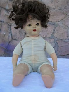 Antique 1940s baby doll cloth body sleepy by PerfectlyGoodStuff, $25.00