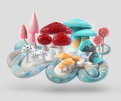 An experimental visual series of mushroom micro-ecosystems.