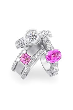 Pink sapphires are my favorite gems and paired with diamonds they combine energies of the heart with a disciplined mind for strength and balance. Jenna Clifford, Jewelry Art, Fine Jewelry, Rings 2017, Pink Sapphire Ring, Jewelries, Pretty In Pink, Sparkles, Diamond Jewelry