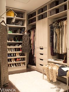 Badgley Mischka provided all of the glittering gowns, sparkling jewels, and other treasures in this walk-in designed by California Closets | 2012 Designer Visions: A Glamorous New York Apartment, via Veranda #closet #dressing_room