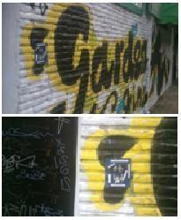 """""""BASTA!!!!"""".  Hacer que los usuarios de un prostíbulo de Oporto (Madrid) se pregunten si en el local al que acceden hay algo de lo que se describe en el cartel: Violencia, trata, explotación, abuso. AUTOR/A: Brave1975"""
