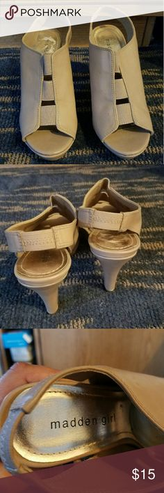 Madden girl heels Never worn, sat in my closet. Still in good condition. Heel is about 4 inches. Madden Girl Shoes Heels