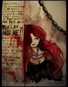"""Creepy illustration for a cool Dresden Dolls song. """"Missed Me"""" It really is kinda depressing. Amanda Palmer is such a good writer"""