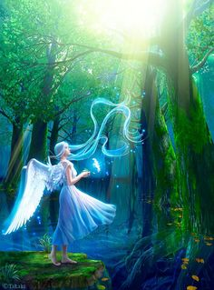 Takaki is a digital artist who works on beautiful fantasy and fare tale characters. As a young child she was fascinated by birds,the beautiful creatures Fantasy Images, Fantasy Artwork, Fantasy Creatures, Mythical Creatures, Beautiful Fantasy Art, Fantasy Kunst, Angels And Demons, Angel Art, Fairy Art