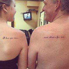 Just because you grow up, doesn't mean you have to grow apart... Do you and your father share any tattoos?