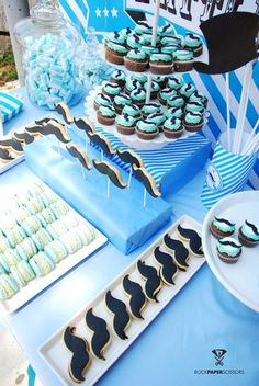 Moustache Theme Baby Shower - love the cupcakes and cookies