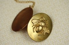Long BumbleBee Locket Necklace, Vintage Copper and Brass, Oval Bee Pendant, Large Jewelry, Gold Chain, Unique Two Tone Metal Jewellery on Etsy, $29.00