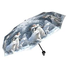 Winter Guardians Umbrella by Anne Stokes is a most delightful design indeed. Featuring a beautiful maiden with two White Wolf's by her side, it really is a lovely winter scene and this umbrella would come to life as you walk in a wintry snow shower. A fantastic new product by Nemesis Now. Product Number B2481G6 #winterguardians #annestokes #umbrella #NemesisNow #wolves