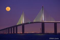 The new Skyway Bridge that took so long to build after a ship hit one of the columns and cars, buses, into the water from a very high into the sky bridge. this bridge connects Bradenton/Sarasota to St. Petersburg/Clearwater/Tampa, Florida. This is nice but I miss the original bridge!