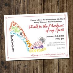 Print Yourself Invitation for New Beginnings, Night of Excellence, Shoe Typography, Young Women Value Colors, Walk in the Meekness