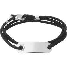 Links Of London Soho ID leather and sterling silver bracelet (€225) ❤ liked on Polyvore featuring men's fashion, men's jewelry, men's bracelets, mens cord bracelets, mens leather braided bracelets, mens sterling silver bracelets and mens leather bracelets