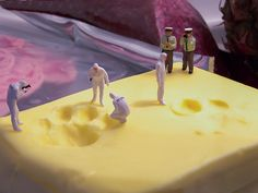 miniature photography - small world and tiny people Who stepped on the butter?