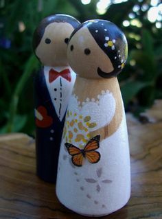 Wood Wedding Cake Topper: Butterfly Bride with Black Hair $14