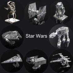 Star Wars 3D Puzzles De Metal Montar BRICOLAJE R2D2 Tie Xwing Fighter Halcón Milenario Modelo Juguetes Regalo de Año Nuevo