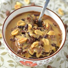Peanut Butter Mocha Oatmeal made with strong coffee is perfect for breakfast. One of my favourite oatmeal recipes.