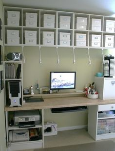 e-commerce home office craft room design workspace organization shelves cubbies Desktop_full_view Scrapbook Organization, Office Organization, Organizing Ideas, Organized Office, Space Crafts, Home Crafts, Craft Space, Craft Room Storage, Craft Rooms