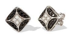 Square Shaped 14k Gold Black and White Diamond Stud Earrings